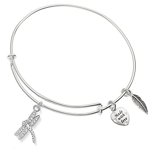 Enni of York Dragonfly with Crystal Expandable Silver-Tone Bangle - Bracelet Dragonfly Crystal