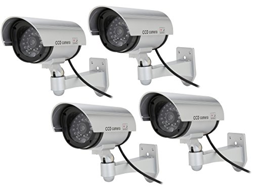 Rosewill Fake Security Surveillance CCTV Dummy Camera (4-PK), with LED Light & Warning Security Alert Sticker