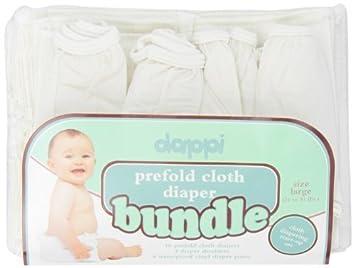 Prefold pañal de tela Bundle, Blanco, Pequeño