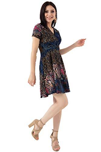 Summer Short Sleeve V Neck Casual Floral Paisley Mini Dress (Navy Paisley, Medium)