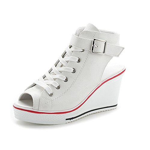 Sokaly Women's Canvas Shoes Wedge Heeled Platform Sneaker Fashion Pump Shoes (9 B(M) US, White 02)