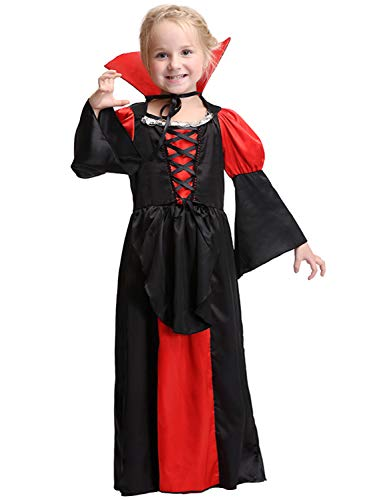 Halloween Kids Vampire Costumes Royal Red Heart Queen Dress Gothic Princess Robe -