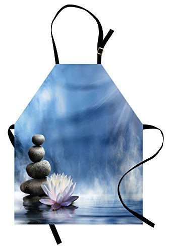 Lunarable Spa Apron, Purity of the Zen Massage Magic Lily Stones Sunbeams Spirituality and Serenity Theme, Unisex Kitchen Bib Apron with Adjustable Neck for Cooking Baking Gardening, Blue White by Lunarable