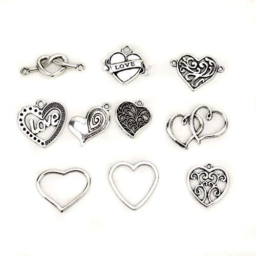 - JETEHO 100 Pieces Heart Charms Pendants Antique Silver Heart Valentine Charms Pendants for Crafting Jewelry Findings Making Accessory