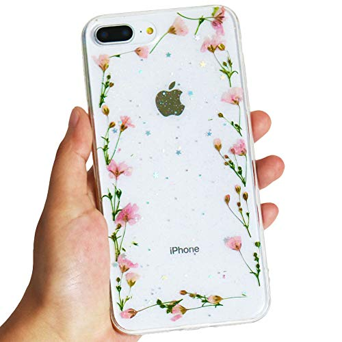 KESTAR iPhone 8 Plus/iPhone 7 Plus Flower Case, Soft Clear Flexible TPU Rubber Real Dried Flowers Case Glitter Floral Cover for iPhone 7 Plus/8 Plus (Pink Flower Frame) -