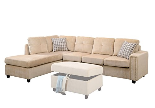 Sofa Asian Sectional (Acme Furniture ACME Belville Beige Velvet Reversible Sectional Sofa with Pillows)