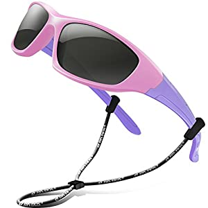 RIVBOS Rubber Kids Polarized Sunglasses With Strap Glasses Shades for Boys Girls Baby and Children Age 3-10 RBK003(Pink)