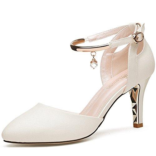 Zapatos con Punta 91 Mujer De Altos Ranurada Luz Tacones UK1 SHOESHAOGE EU33 Atar Fina Mujer Negra f8xEdwwqR