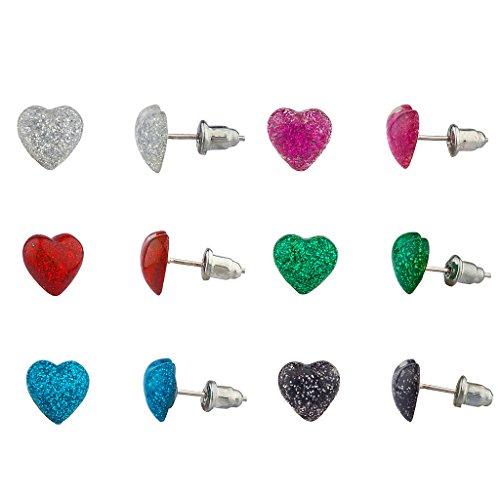 Lux Accessories Multi Color Glitter Heart Love Multiple Stud Earring Set