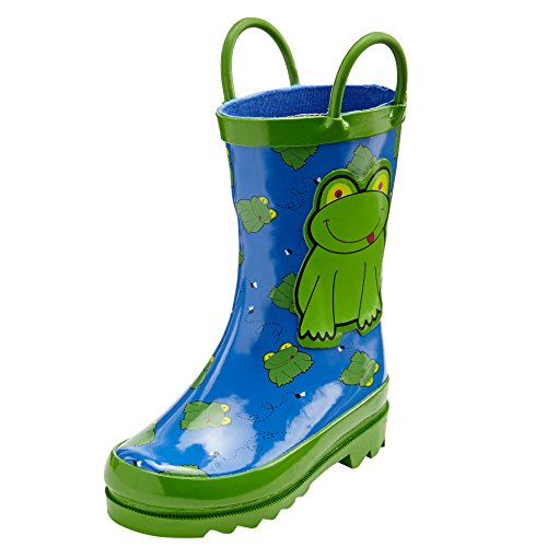 - Puddle Play Toddler and Boys Green Frog Waterproof Rubber Rain Boots Easy-On Handles - Size 4 Toddler