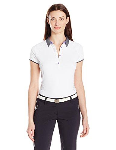 Cutter & Buck Women's Moisture Wicking, UPF 50+, Cap-Sleeve Afton Polo Shirt, White, -