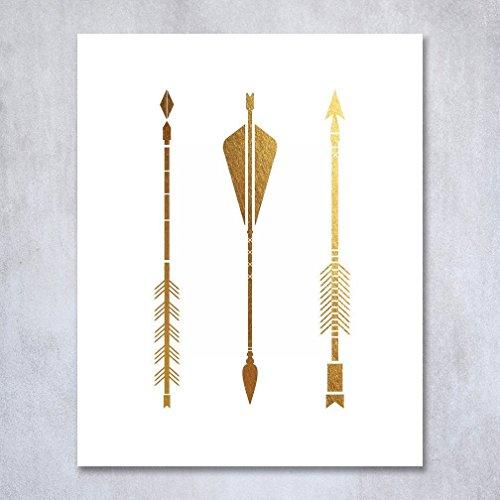 Three Arrows Gold Foil Print Tribal Aztec Bohemian Boho Chic Decor Metallic Poster Modern Wall Art 8 inches x 10 inches B14 (Gold Wall Art Arrow)