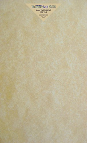 50 Old Age Parchment 60 Pound Text (=24 Pound Bond) Paper Sheets - 8.5' X 14' (8.5X14 Inches) Legal|Menu Size - 60 Pound is Not Card Weight - Vintage Colored Old Parchment Semblance