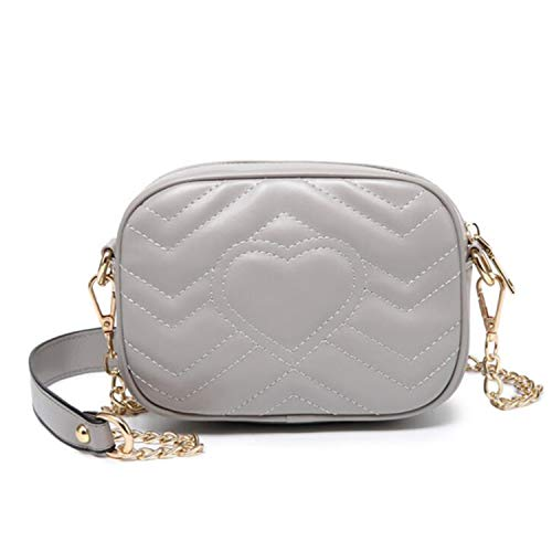 Zbella Marmont Small Matelassé Quilted Chevron PU Faux Leather Crossbody Shoulder Handbag Purse with Chain Shoulder Strap and Quilted Heart Detail ()