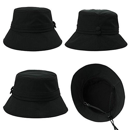 Siggi Womens Bucket Cord Sun Summer Beach Hat with Narrow Brim for Ladies Foldable UPF50+ Black