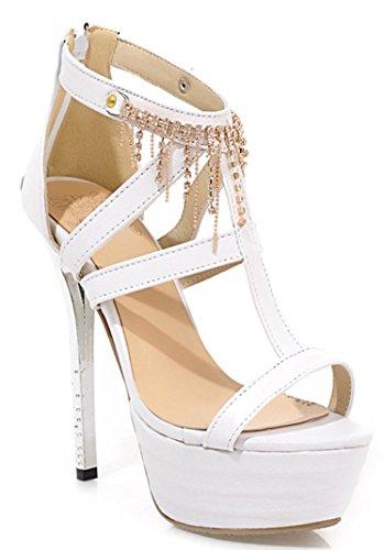 YE Damen Offene Peep Toe High Heels Plateau Stiletto Party Leder Kristall Pumps mit Strass Sommer Sandalen Schuhe Weiß