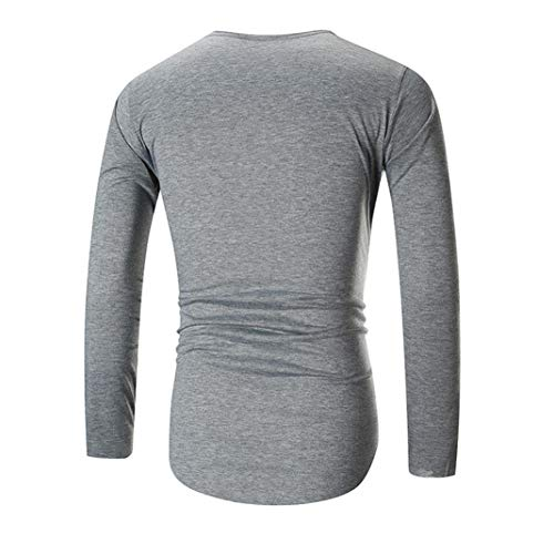 Cuello V Momola Larga Manga Deportiva Camiseta Gris Hombre Blouse men En Para qffwB6IC