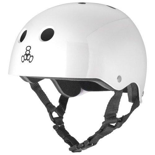 Triple 8 Standard Liner Skateboarding Helmet, White Gloss, M