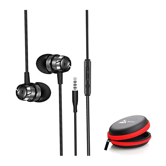 WeCool Mr.Bass Snug Fit Metallic in Ear Earphones for Mobile with Mic | | Headphones for Mobile | | Earphones for Mobile | | + Free Carry Case (Black)