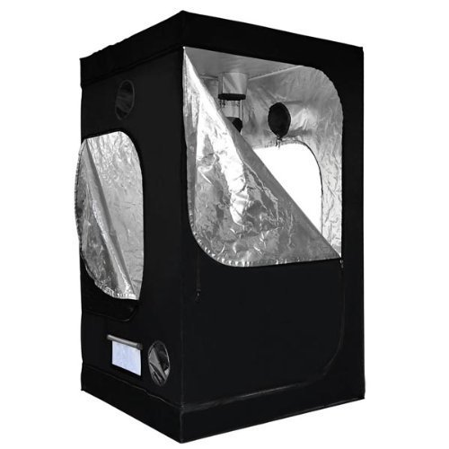 Reflective Mylar Indoor Hydroponic Grow Tent with Windows  48x48x78 Inch (Appx. 4ft x 4ft x 6.5ft) by AV Prime Inc.