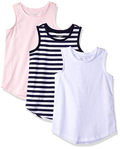 Amazon Essentials Big Girls' 3-Pack Tank, Bright White/Even Stripe Navy/Cherry Blossom, X-Large