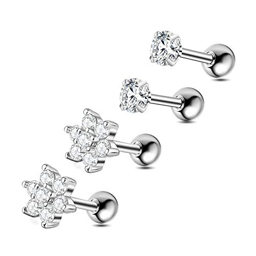 Gnoliew 16G Stainless Steel Stud Earrings Cartilage Tragus Helix Barbell Piercing Jewelry (2Pairs)