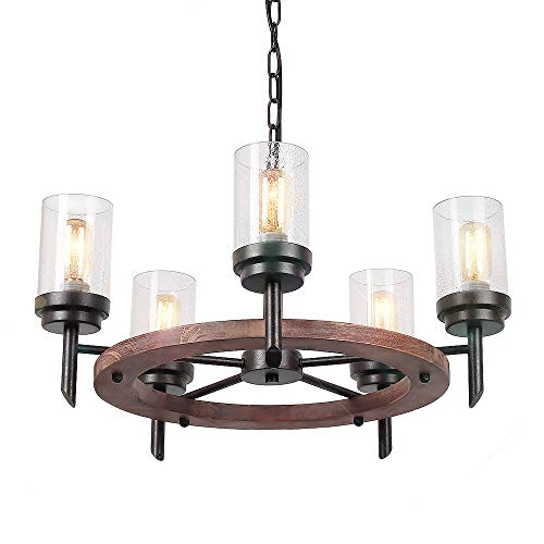 Eumyviv 17803 5-Lights Metal Wood Pendant Lamp with Glass Shade Retro Rustic Chandelier Edison Vintage Decorative Ceiling Light Fixtures Hanging Light Luminaire