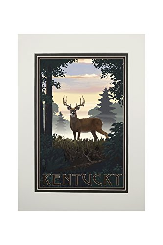 Kentucky - Deer and Sunrise (11x14 Double-Matted Art Print, Wall Decor Ready to Frame)
