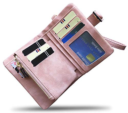 Women's Small Bifold Leather wallet Rfid blocking Ladies Wristlet with Card holder id window Coin Purse (Pink)