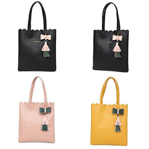 NXDA Girls Women Fashion Tassel Bag Leather Pure Color Bag Single-Shoulder bag Handbag (Yellow) by NXDA (Image #2)