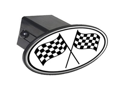 (Checkered Chequered Black and White Racing Finish Line Winner Flag Oval Tow Trailer Hitch Cover Plug Insert 2