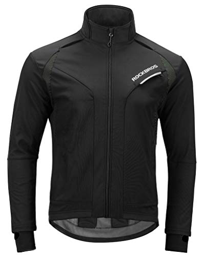RockBros Cycling Jacket Men's Winter Thermal Long Sleeve Jersey Windproof Coat Softshell Black Green S