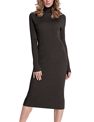 Rocorose Women's Turtleneck Ribbed Elbow Long Sleeve Knit Sweater Dress Deep Coffee M