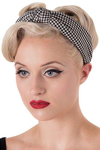 Retro Vintage Rockabilly Dogtooth Arabella Headband by - Black/White/One Size -