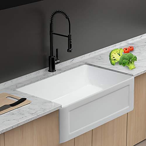 Lordear 24 Inch Farmhouse Fireclay Sink White Apron-Front Porcelain Ceramic Deep Single Bowl Kitchen Sink