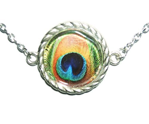 PEACOCK EYE FEATHER NECKLACE Glass Covered Art SILVER Pltd Choker Collar