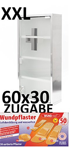 60cm MAXI Erste Hilfe Medizinschrank EDELSTAHL GLAS + 50 Wundmed Pflaster Gratis Zugabe