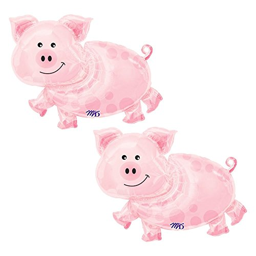 Set of 2 Pink Pig Farm Animal 35'' Baby Shower Birthday Foil Party Balloons by Artisan Owl