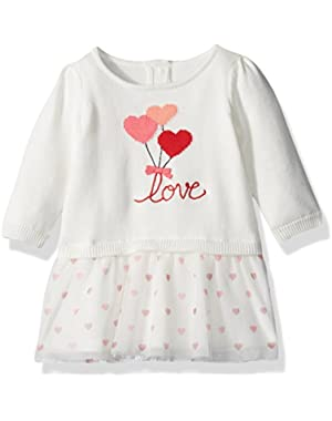 Baby Boys' Heart Balloon Sweater Dress with Tulle