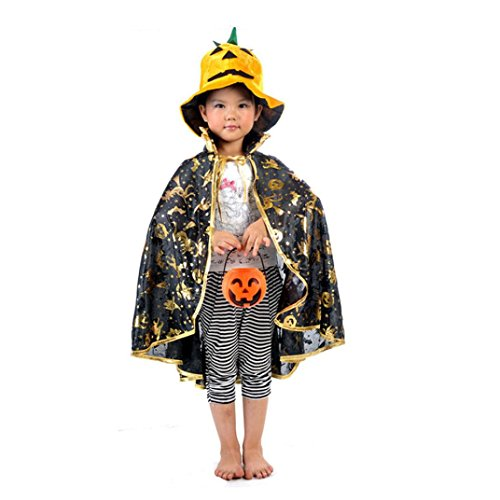 [Oksale® Halloween Costume Dainty Golden Polyester Pumpkin Robe Shawl +Pumpkin Bag+ Pumpkin Hat] (80s Prom King And Queen Costume)