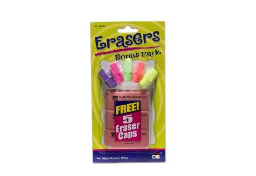 Charles Leonard Eraser Combo Pack, 3 Big Pink and 5 Eraser Caps, Assorted Colors (76530) Charles Leonard Wedge Shaped Eraser