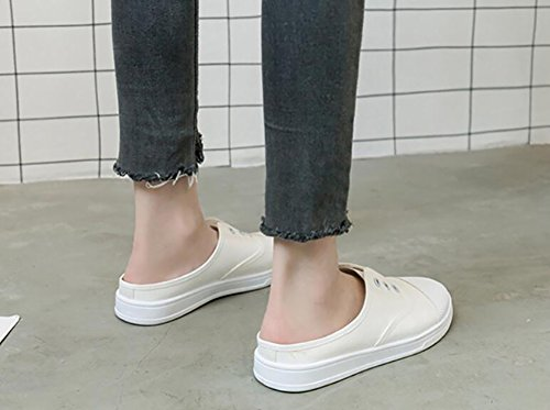 Bianco Basse 40 36 Minimalismo Rojeam Sportive Per Tessuto Casual Sneaker Slipper Donna In Scarpe O0xn0RF