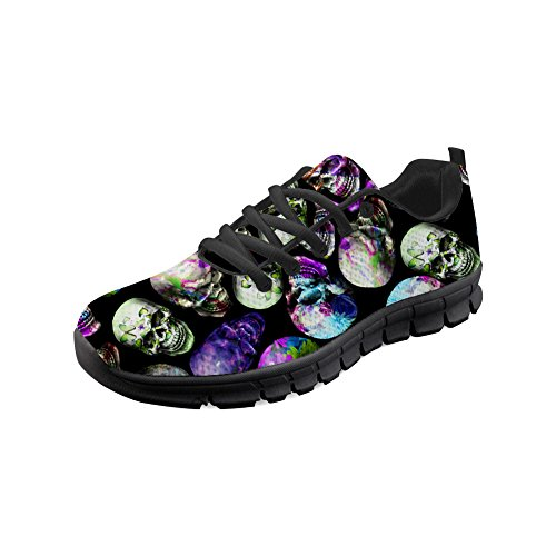 Print Shoes Running Skull doginthehole Flat Sneakers Women's Skull3 Lightweight Athletic vZx5p