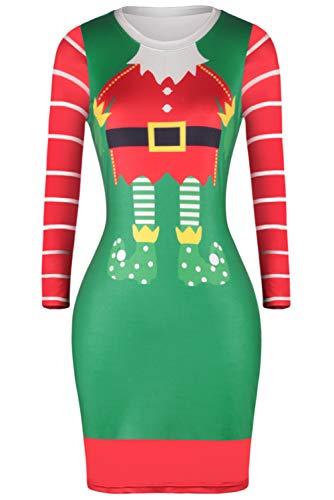 Womens Christmas Dress Elk Santa Claus Printed Long Sleeve Bodycon Girls Ladies Evening Party Knee Length Dress Costume -