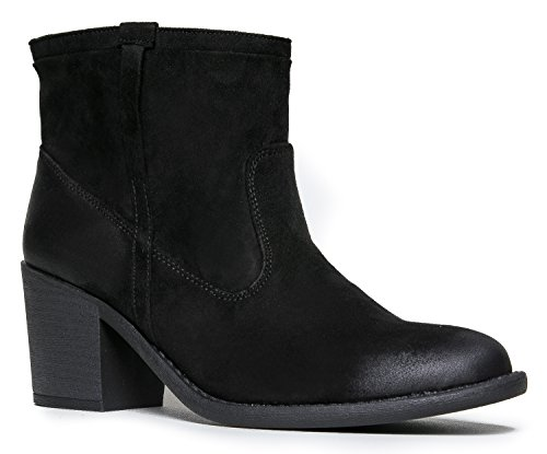 (Qupid Tobin-06 Western Cowboy Style Ankle Boot)