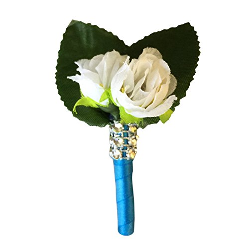 Boutonniere- Mini Rose with Turquoise Ribbon.perfect for Kids