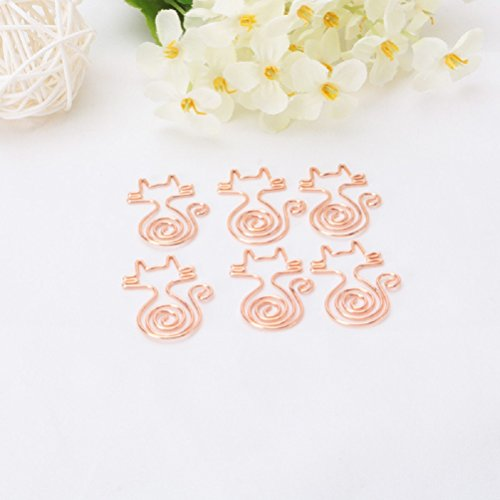 Shoppingmoon Cute Cat Paper Clips Metal Note Clips for Office School Wedding Decoration (Gold) Pack 12pcs (Fashion Paper Clips)
