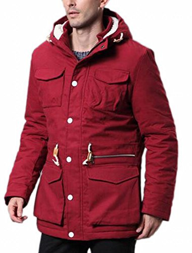 today-UK Mens Winter Thicken Cotton Jacket Hooded Parka Jackets Coats Red