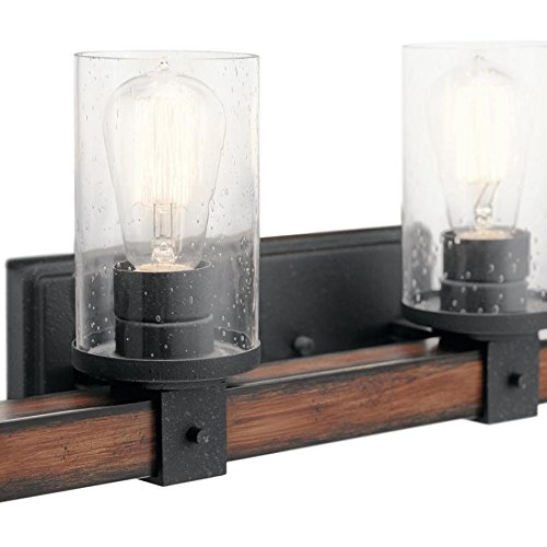 Kichler 4-Light Barrington 9-in Distressed Black and Wood Cylinder Vanity Light by Kichler