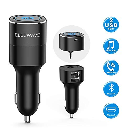 Bluetooth Receiver for Car, Esky Bluetooth 4.2 Hands-Free Car Kits/Bluetooth Aux Car Audio Adapter with Dual 2.4A USB Port Car Charger, Wireless Car Kits for Home/Car Audio Stereo, 3.5mm Aux Input by Esky